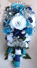 17 pc Wedding Bouquet Bridal Silk flowers TURQUOISE NAVY SILVER Centerpiece set