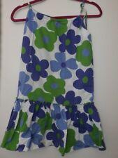 Lola Et Moi Sundress Girl SZ 8 Floral Green Purple Flowers Adjustable Dress