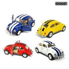 4 PC SET New Kinsmart Volkswagen Beetle VW Bug w/ Stripes Diecast Model Toy 1:32