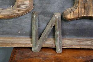 """Early Brass Letter """"N"""" Antique Trade Sign Folk Art Primitive emblem School House"""