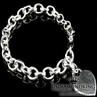 """LADIES WOMEN'S NEW .925 STERLING SILVER HEART TAG LINK CHARM BRACELET WHITE 9"""""""