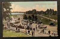 1912 Scene on Belle Isle Detroit Michigan Cincinnati to Boston MA RPPC Cover