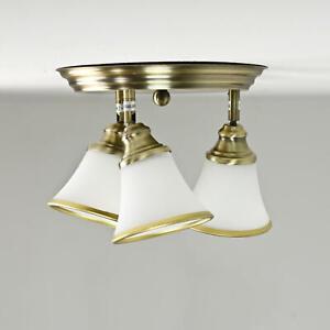 Elegante Deckenlampe Wohnzimmer Bad Glas E14 Ø40cm in Bronze drehbar Jugendstil