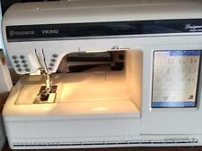 Husqvarna viking designer 1 sewing machine with embroidery attachment,case,discs
