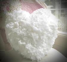 Shabby French Chic Country Pure White Fluffy Plush Rag Heart Cushion Toss Pillow