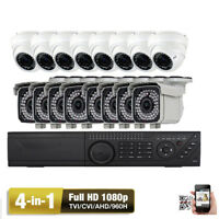 16 Channel High Definition HD-TVI DVR 2.6M 1080P Security Camera System 4TB HDDs