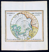 1682 Du Val Original Antique Map of the North Pole North America, Europe, Russia
