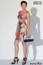 EUC Women's Eroke Summer Orange Multi Color Sleeveless Dress ABB87 Made in Italy