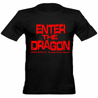 Mens Bruce Lee Inspired Enter The Dragon Crew Neck Cotton Fitted T-Shirt/ Black