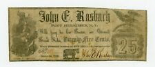 1862 25c John C. Rasbach - Fort Herkimer, NEW YORK Merchant Scrip CIVIL WAR Era