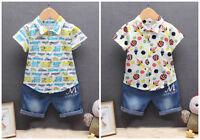 2pc baby clothes summer short sleeve shirt+ denim short pants kids boys outfits