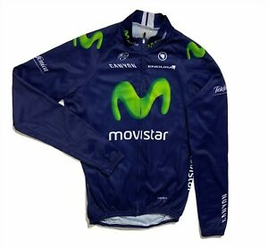 Men`s ENDURA Movistar Long Sleeve Cycling Jersey Full Zip Blue Size L