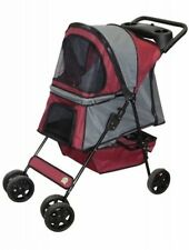 Go Pet Club GoPetClub Pet Dog Cat Stroller Maroon/Silver Ps004 Pet stroller New
