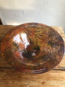 Rare Super Large Higgins Art Glass Centerpiece Bowl Pointille Pattern