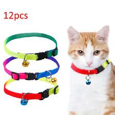12PCS/Lot Dog Collars Pet Cat Puppy Color Buckle Nylon Collar W/Bell Wholesale