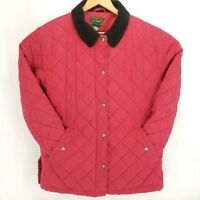 LL Bean Quilted Snap Front Jacket Womens Large Red lined Black corduroy collar
