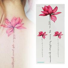 Women Temporary Fake Tattoo Sticker Watercolor Lotus Arm Body Art Waterproof US