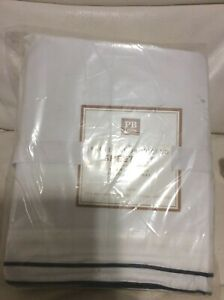 Pottery Barn Teen Parker Embroidered Sateen XL Twin /Twin Sheets Royal Navy Blue