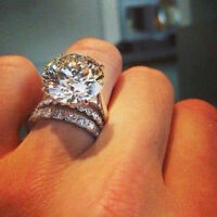 925 Silver White Sapphire Wedding Engagement Ring Set Women Jewelry Size 6-9