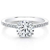 0.53 Ct Round Cut Real Diamond Engagement Ring 14K Solid White Gold Size 8 7 6 5