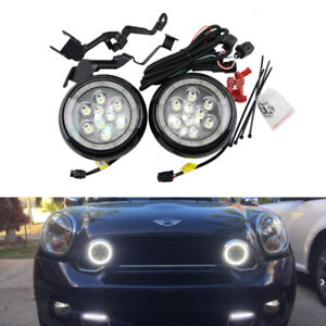 Black Led Mini Rally Driving Fog Light Mini Cooper R56 R57 Halo Ring DRL Lights