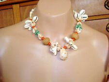 Vtg 6 Pc Asst Fancy Bead SHELL NECKLACES Luau Party Cruise Beach Jewelry NOS