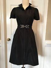 BCBG MAXAZRIA Satin Black Belted Dress 0