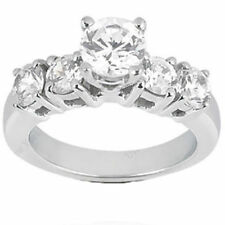 2.01 ct Engagement Solitaire ROUND DIAMOND RING 5 stone BAND SI1 clarity