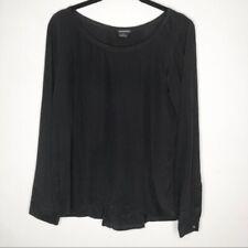 Club monaco black silk blouse S pintucked back