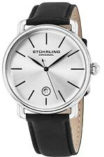 STUHRLING MEN'S 42MM BLACK CALFSKIN STAINLESS STEEL CASE QUARTZ WATCH 768.01