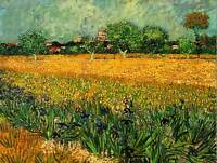 VINCENT VAN GOGH VIEW ARLES WITH IRISES IN FOREGROUND ART PAINTING PRINT 3013OMB