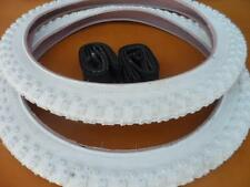"""New Bicycle Tires and Tubes 20 x 2.125 Fits 1.75 1.95 White BMX 20"""" Bike MX3"""