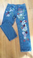 5 Pocket Hippie Jeans Stickerei Blumen Yeonzügun Gr. S / M, 36 / 38 steht L drin