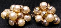 Vintage Clip On Earrings Cluster Faux Pearls Costume Jewelry