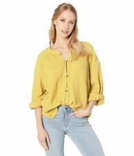 Free People Womens Moving Mountains Blouse Shirt Mustard Yellow XS New