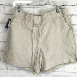 ELLEN TRACY Sandstone Linen Drawstring Shorts Women's S NEW