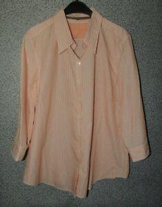 Damen Bluse 3/4Arm Orange/Weiß kariert Gr. XL Etikett entfernt
