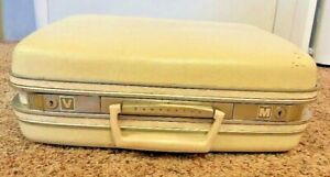 """Train Case Samsonite 16"""" Ivory White Silhouette Suitcase Travel Carry On Vintage"""