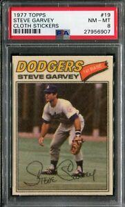 1977 Topps #19 Steve Garvey Cloth Sticker PSA 8 NM-MT