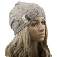 Women Ladies Winter Warm Knitting Baggy Beanies Leaves Hollow Out Hats Caps New