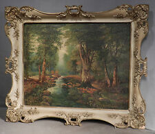 Vintage Modern Mystery Master Oil Painting Woodland Landscape Gilt French Frame