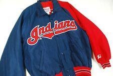 Vintage 90s Starter Cleveland Indians Warmup Baseball Jacket Blue Nylon Mens M