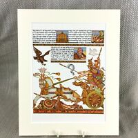 1950 Ebraico Stampa Arthur Szyk Haggadah Egiziano Chariot Faraone Pasqua