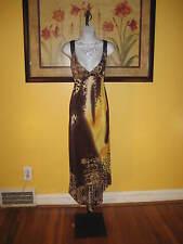 NWT  Gold & Brown Floral Lace Cheetah Paisley Hi-Lo Maxi Dress Size XL