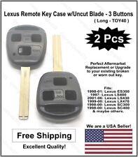 2 Pak: New! Lexus Replacement 3-Button Remote Key Case w/Uncut key.(Fits: Lexus)