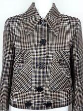 MIU MIU F/W 2015 RUNWAY Camel Tartan Check Virgin Wool Jacket Coat IT38/US4 NWT