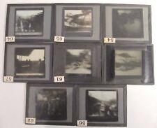 WWI LOT OF 8 WORLD WAR SCENES MAGIC LANTERN GLASS SLIDE GENERALS ACE SNIPER POW