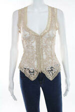 Ann Ferriday Light Pink Lace Sleeveless Clasp Front Tank Top Size Medium New
