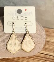Hammered Weave Dangle Earring - Natural