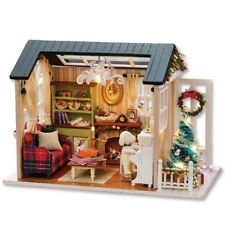 Christmas DIY WoodenHouse Furniture Handcraft Miniature DollHouse with LED Light